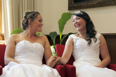 Two brides on the verge of getting married Stock Photos