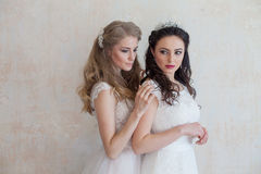 Two brides on wedding wedding blonde brunette Stock Photography
