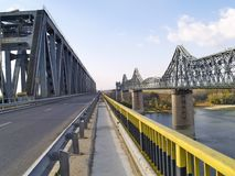 Two bridges. Over the Danube river Royalty Free Stock Photos
