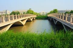 Two bridges. In a university, Shanghai, China Royalty Free Stock Photo