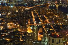 Two Bridges area aerial in Lower Manhattan Stock Photography