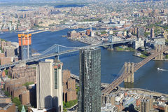 The two bridges area of lower Manhattan Stock Images