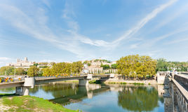 Between two bridges at Beziers view across Orb River Stock Images