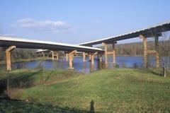 Two bridges crossing in Little Rock, Arkansas Stock Photos