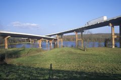 Two bridges crossing in Little Rock, Arkansas Stock Images