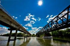Two bridges on Drava river in Podravina Royalty Free Stock Image