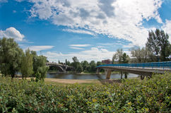 Between two bridges. Fish-eye panorama photo of two bridges over the Vltava river Stock Photo