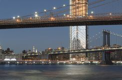 Two bridges in New York City. Stock Images