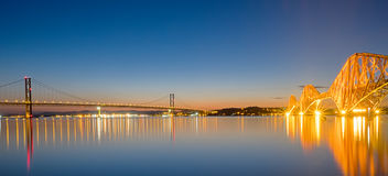 Two bridges over the Firth of Forth Stock Photography