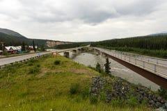 Two bridges over Nenana river in Alaska Royalty Free Stock Images