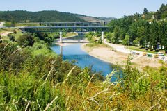 Two bridges over Zêzere river, Constância, Portugal Royalty Free Stock Photo