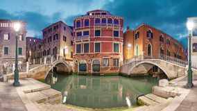 Two bridges and red mansion in the evening, Venice. Two bridges and red mansion in the evening on piazza Manin square, Venice, Italy static image with animated stock footage