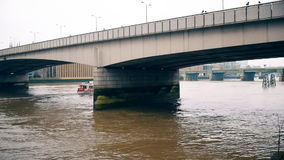 Two bridges on the Thames River. London. England. United Kingdom.  Concrete bridges on the river stock video