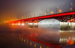 Two bridges through the Yenisei River royalty free stock photo