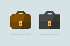 Two briefcase icons flat vector design. (brown and black Royalty Free Stock Image