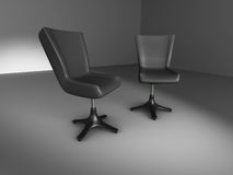 Two Briefing Black Chairs In Dark Room Stock Photography