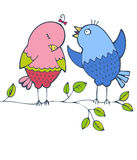 Two bright birds. Sitting on a branch Royalty Free Stock Photo