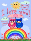 Two bright, cartoon, beautiful owls pink and blue, a girl and a boy with beautiful eyes are sitting under an umbrella on a seven-. Colored rainbow hiding from vector illustration