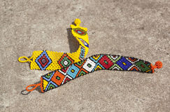 Two Bright Colored Beaded Zulu Wrist Bracelets Royalty Free Stock Photos