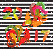 Two bright colorful rooster fighting. Lettering 2017 made of feathers. Drawing Chinese symbol of the New Year. Decorative abstract cocks. Striped background Royalty Free Stock Photos