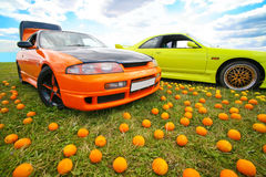 Two bright colour cars on grass Stock Photo