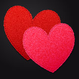 Two bright fabric hearts Royalty Free Stock Photography