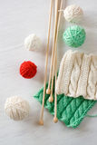 Two bright patterns, yarn balls and needles for knitting Royalty Free Stock Image