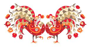 Two bright peacocks and tulips. Beautiful ethnic vector border. Stock Photography