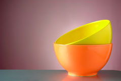 Two bright plates on the table Stock Photography