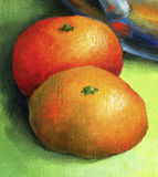Two bright red mandarin, painted in oil on canvas. Royalty Free Stock Image