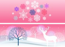 Two bright winter banners Stock Photos