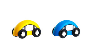 Two bright wooden toy car.  Royalty Free Stock Image