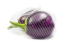 Two brinjals in mesh bag Stock Images