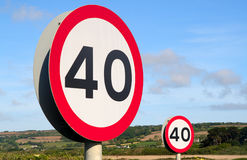 Two British 40 mph signs. Royalty Free Stock Image
