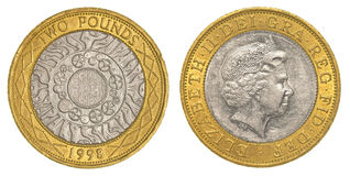 Two british pounds coin Stock Image