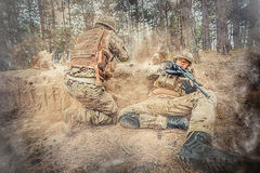 Two british soldiers in a fight Stock Photos