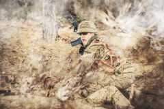 Two british soldiers in a fight Stock Photography