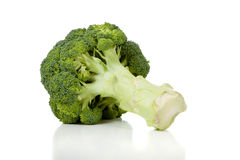 Two broccoli florets on white Royalty Free Stock Photography