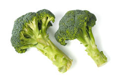 Two broccoli on white royalty free stock photography