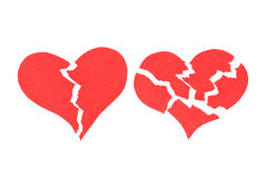 Two Broken hearts. Abstract color background Royalty Free Stock Photos