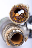 Busted Rusty Pipes Stock Photography