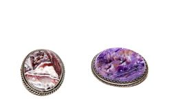 Two brooches with a stone pattern Royalty Free Stock Photography