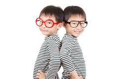 Two brother  smiling with eyeglass Royalty Free Stock Photography