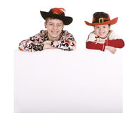 Two brother with white banner. Stock Image