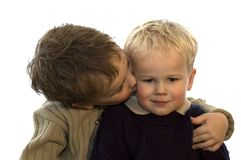 Two Brothers 2. Two lovely brothers, 5 and 2 years of age. On white background stock image