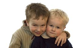 Two Brothers 3. Two lovely brothers, 5 and 2 years of age. On white background Royalty Free Stock Images