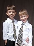 Two brothers. With shirt and tie. smiling boys Royalty Free Stock Image