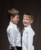 Two brothers. With shirt and tie. smiling boys stock photo