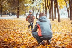 Two brothers in autumn park. Brothers walking with his four year old brother in the autumn park. Vertical view Royalty Free Stock Photo