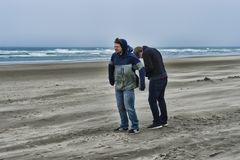 Two young men on a windy beach. Two brothers brave the windy cold wet weather at Cannon Beach on the Oregon Coast royalty free stock photos